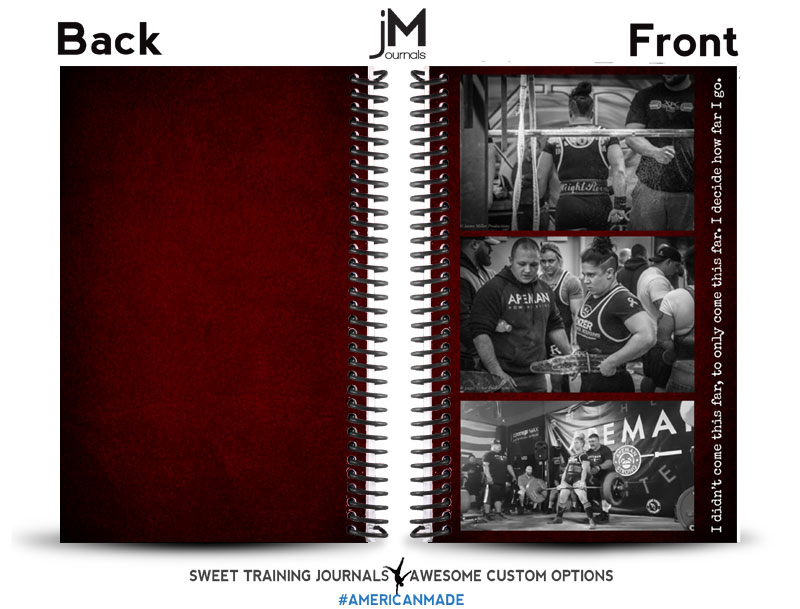 red black and white custom powerlifting journal with images of female powerlifter