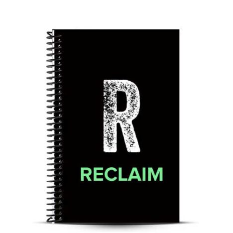 Reclaim Fitness Black journal cover with white and green logo