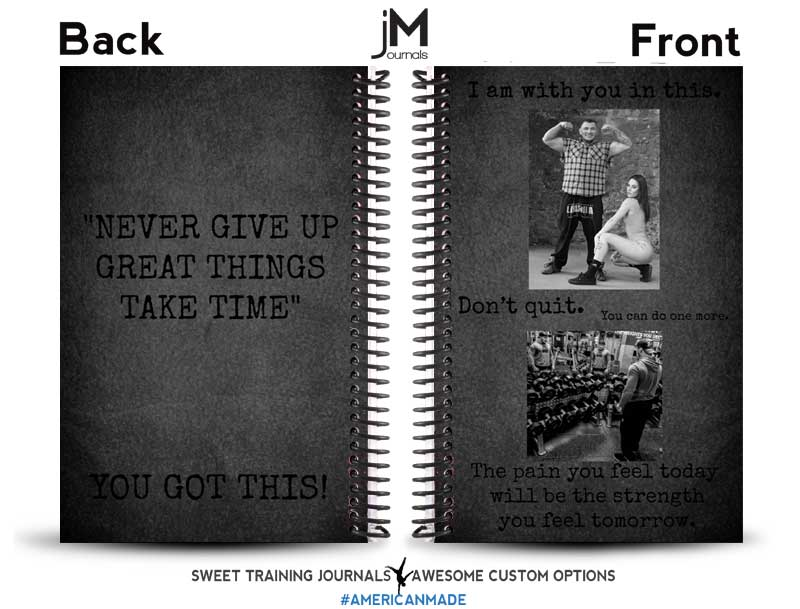 black and white custom weightlifting journal with picture and text