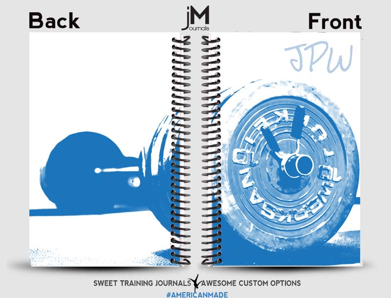 Blue and white custom training log with barbell on the front