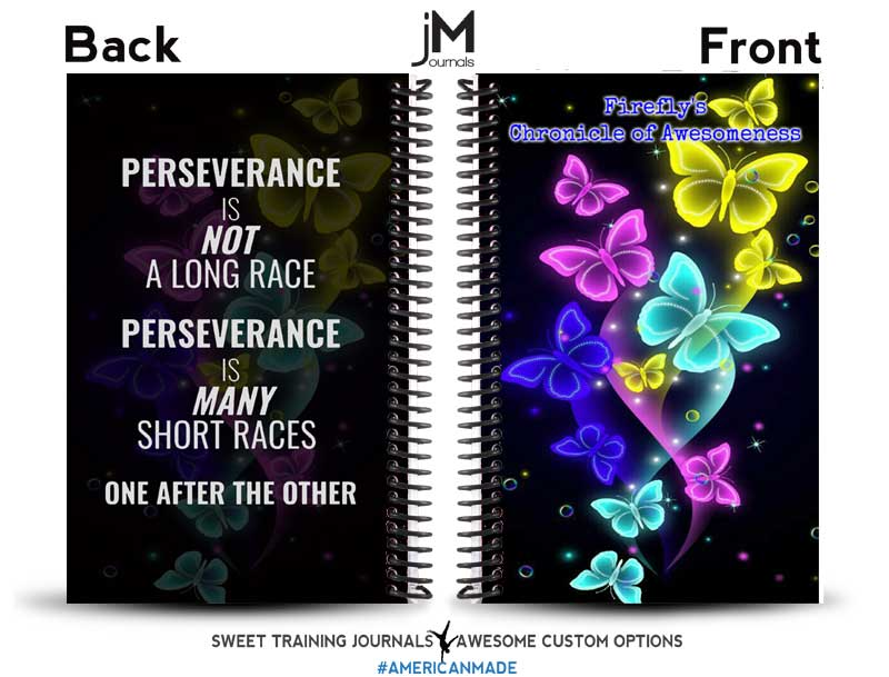 black and multi-colored custom workout journal with quote