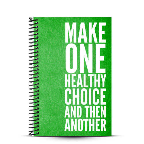 green and white nutrition journal with healthy choices quote