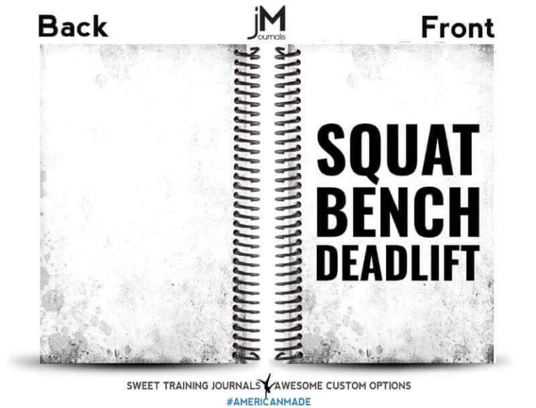 black and white squat bench deadlift journal with front and back cover
