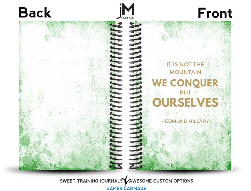 Gold and green custom fitness journal with edmund hillary quote