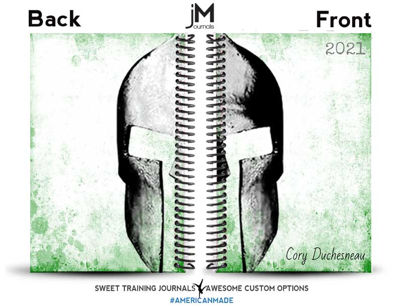Green and white custom weightlifting journal with clipart