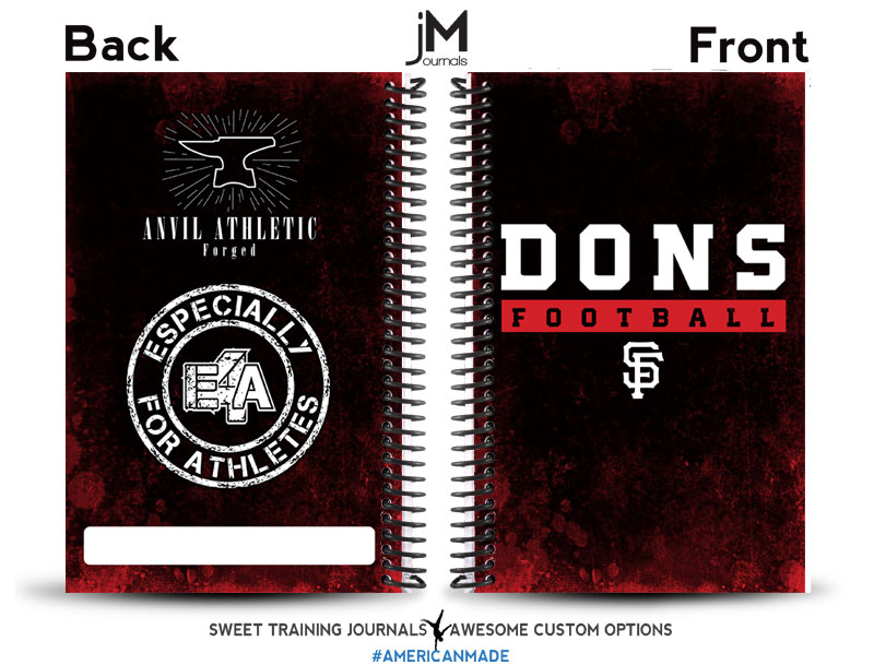 dons football custom red and black football journal with logos