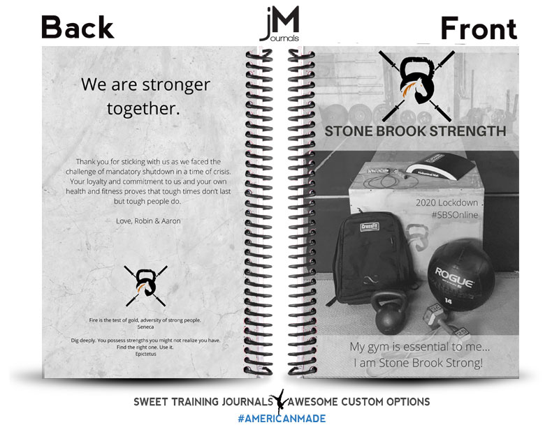 Stone Brook Strength's gray and black custom wholesale fitness journal