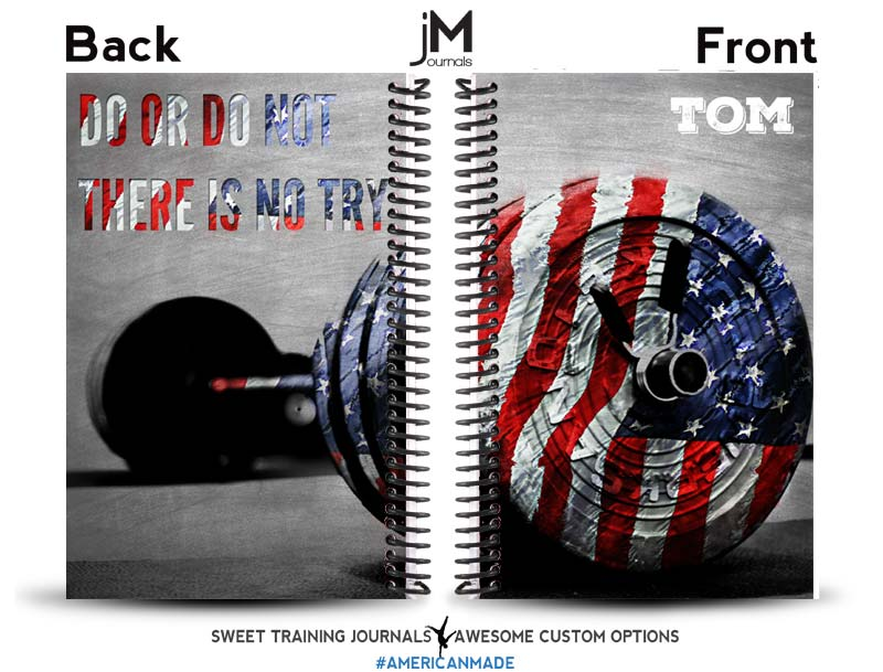 Tom's 3rd custom red white and blue weightlifting journal with barbell and yoda quote