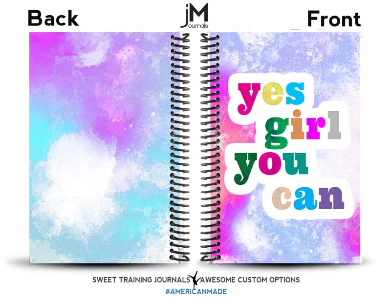 yes girl, you can front and back multi colored fitness journal