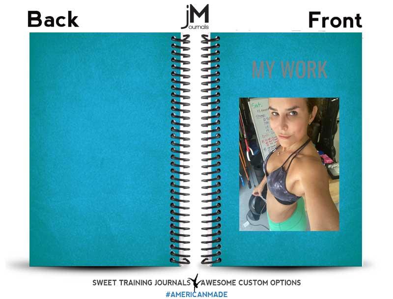 Blue custom training log with custom image and wording
