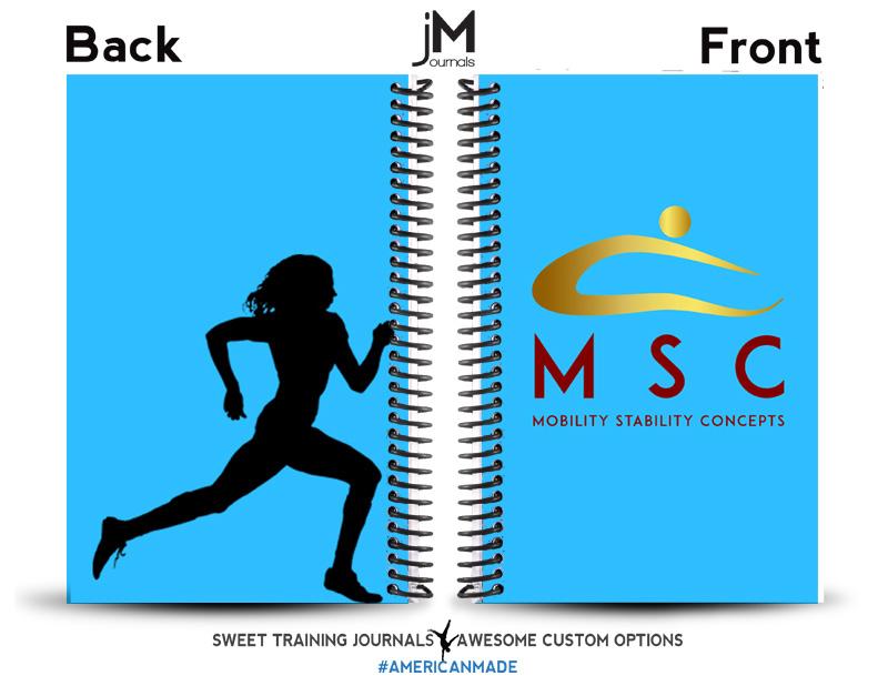 blue custom weightlifting and running journal for MSC robert safford