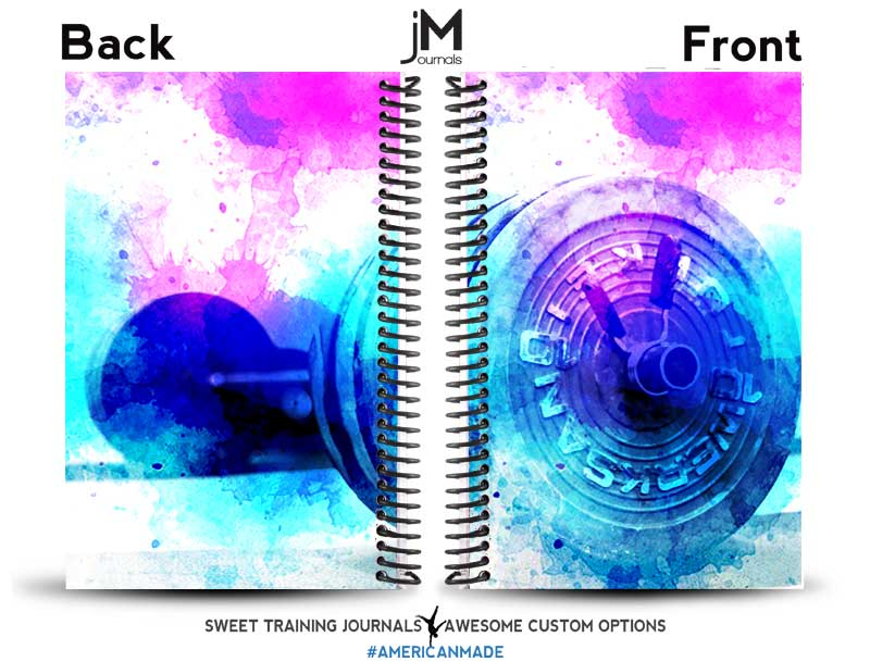 Rebeccas pink white and blue custom fitness journal