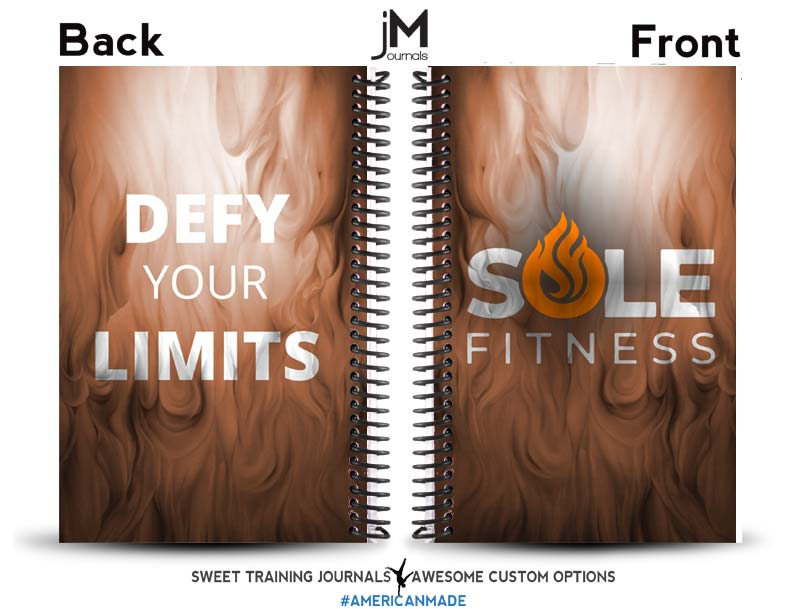 Sole Fitness orange and white fitness journal with flame background