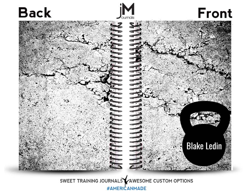 Black and white custom fitness journal with name and kettlebell