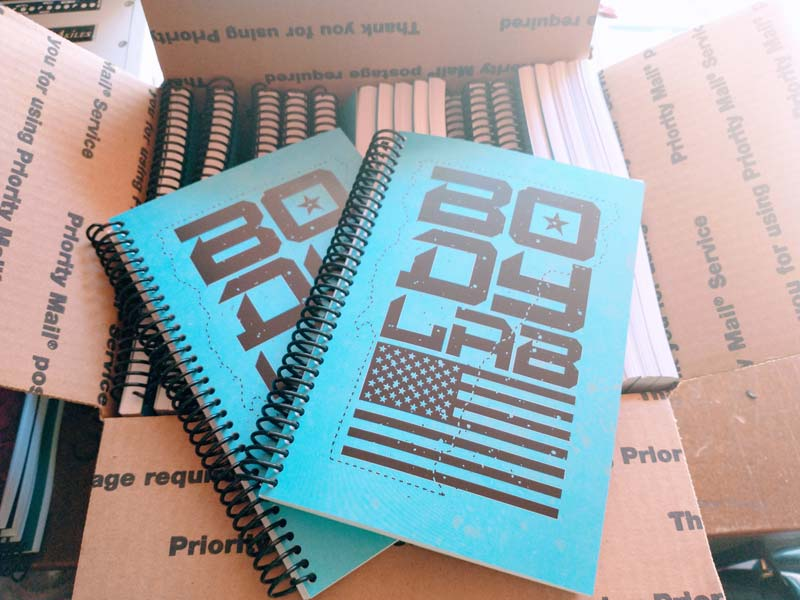 Body Lab blue and black custom fitness and weightlifting journal