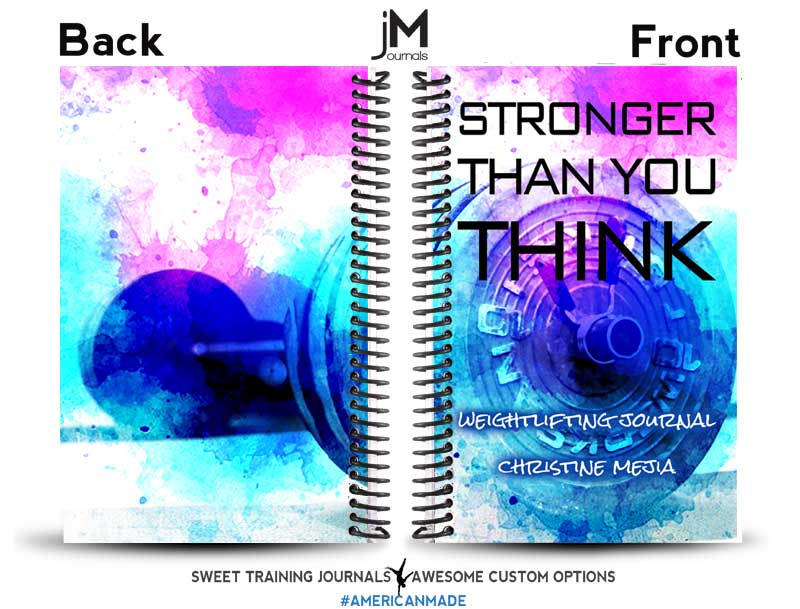 multicolored custom weightlifting journal with name and quote