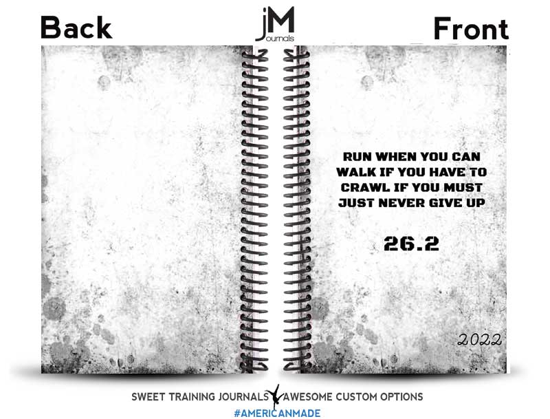 Cindy's black and white custom running journal with quote on the front