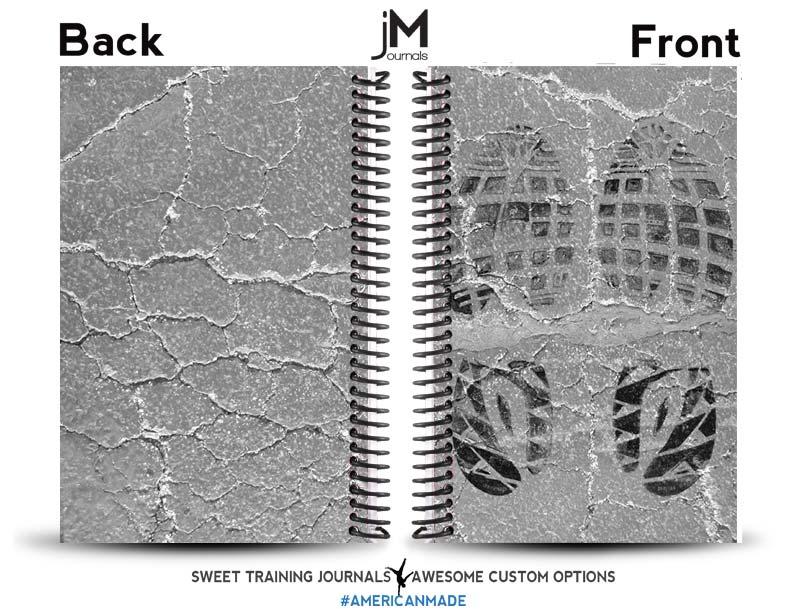 Loris custom grey and white crossfit journal with black shoe print image