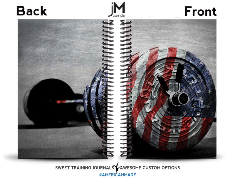 fitness and weightlifting journal with barbell and flag overlay cover