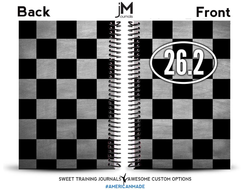 black and white checkerboard cover with marathon graphic on running journal