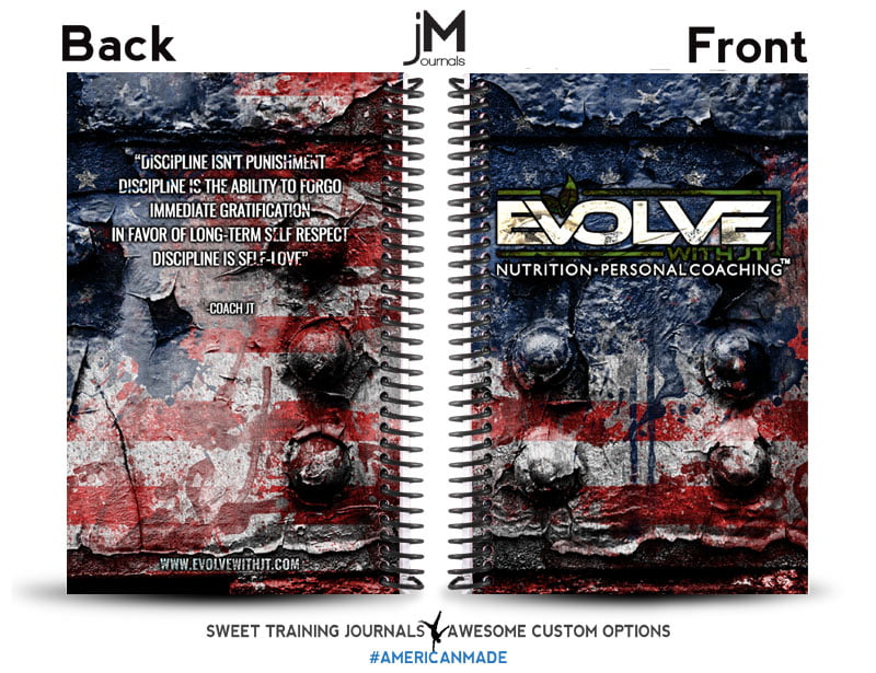 Evolv with JT custom nutrition and fitness journal with american flag background